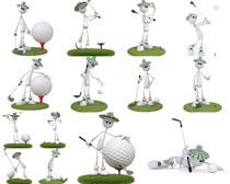3D小人与高尔夫摄影高清图片