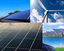 风车太阳能摄影高清图片