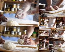 揉面粉人物摄影高清图片