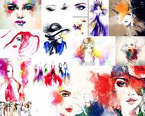 水墨彩色画女子摄影高清图片