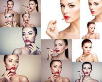 画口红的欧美女子摄影高清图片
