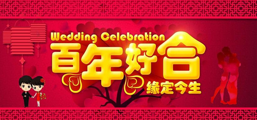 psd素材 广告海报 > 素材信息   关键字: 百年好合结婚背景婚庆海报