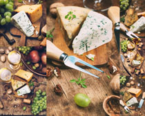 奶酪面包葡萄摄影高清图片