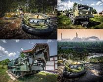 破旧的交通工具摄影高清图片
