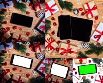 圣诞节礼物与手机摄影高清图片