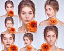 美女与向日葵摄影高清图片