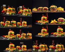 汉堡包食物展示拍摄高清图片