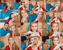 护理牙齿的美女拍摄高清图片