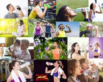 喝水的欧美人物摄影高清图片