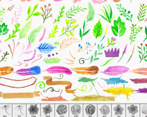 水彩鲜花花卉PS笔刷素材