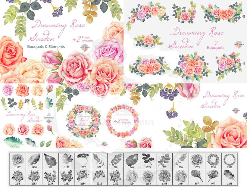 爱图首页 ps素材 ps笔刷 花朵笔刷 手绘花朵笔刷 水彩鲜花笔刷 花卉