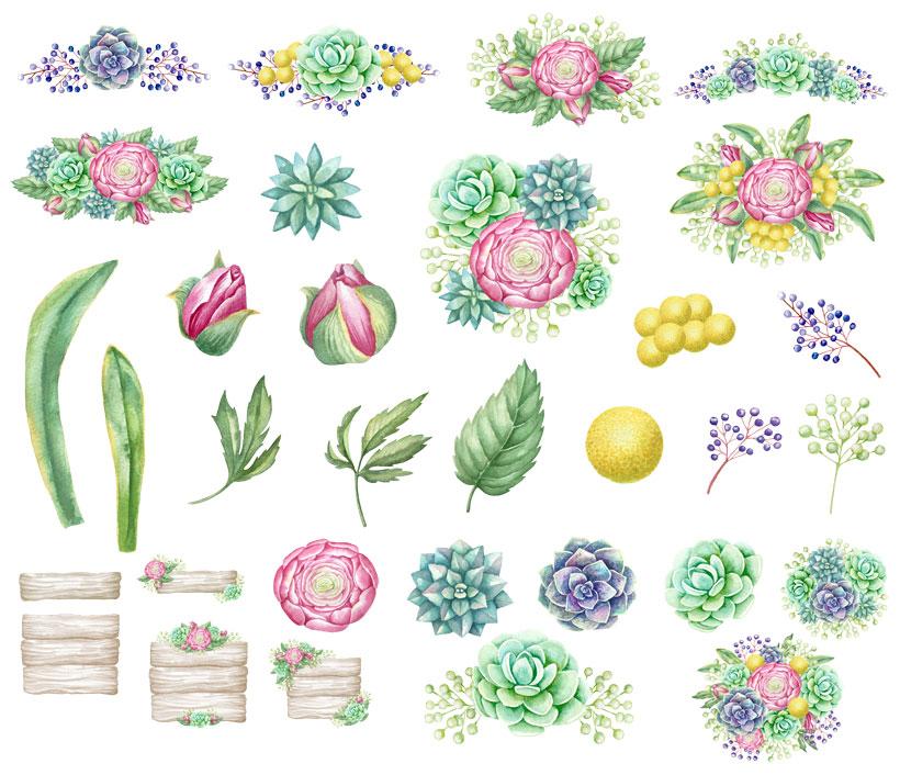 水彩花卉笔刷