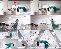 创意办公室女子拍摄高清图片