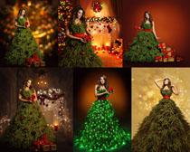 圣诞装饰美女拍摄高清图片