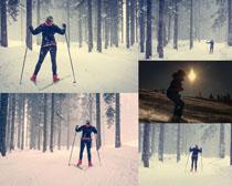 雪天滑雪的人物拍摄高清图片
