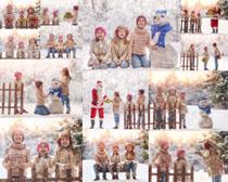下雪天快乐儿童摄影高清图片