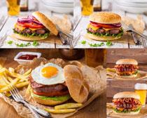 早餐汉堡包鸡蛋摄影高清图片