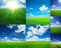 蓝天与草地摄影高清图片