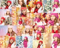 圣诞节女人星光背景摄影高清图片