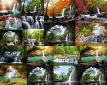 瀑布山水风景摄影高清图片