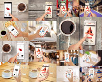 咖啡商务手机办公摄影高清图片