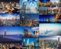 迪拜建筑夜景摄影高清图片
