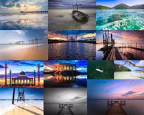 傍晚湖泊风景摄影高清图片