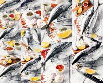 海鱼与调料摄影高清图片