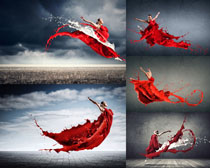飞溅水效跳舞女子摄影高清图片