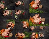 鸡与食材调料摄影高清图片