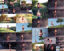 户外锻炼的女人摄影高清图片