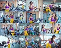 健身房运动女子摄影高清图片