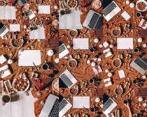 笔记本与食物摄影高清图片