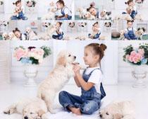 小女孩与宠物狗拍摄高清图片