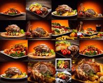 烤肉薯条食物摄影高清图片