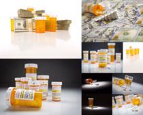 美元与药丸摄影高清图片
