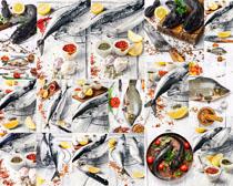 海鱼与调料食物摄影高清图片