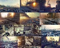 倒塌的楼房摄影高清图片