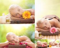 SPA美女与花朵摄影高清图片