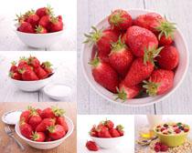 一碗草莓摄影高清图片