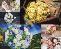 婚纱花朵展示拍摄高清图片