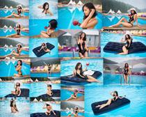 泳池比基尼美女拍摄高清图片
