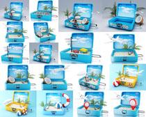 箱子3D风景效果摄影高清图片