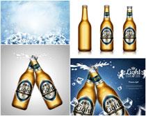 啤酒瓶冰块矢量素材