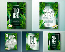 创意绿叶吊旗海报设计矢量素材