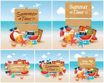 夏日促销吊旗海报设计矢量素材