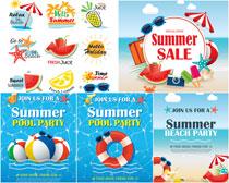 夏日促销宣传单设计矢量素材