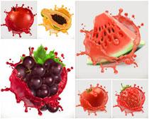 西瓜葡萄水果矢量素材