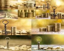 金币与钥匙摄影高清图片