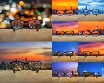 眼镜与城市风光摄影高清图片